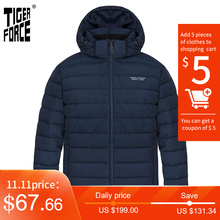 TIGER FORCE 2020 New Men's winter jacket Medium-long Hooded Jackets Thick dark dark