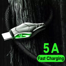 QIXTWO 5A Serpentine Phone Data Line Micro USB Type C Fast Charging Cable USB Android Charger Cable Zinc Alloy Wire USB-C Cord