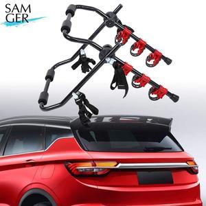 Samger portador da bicicleta traseira do carro carga 3 bicicletas cordas de segurança suporte traseiro portador hatchback bicicleta bagageira do carro rack