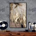 Современный скандинавский абстрактный художественный постер с золотыми перьями печатная Картина на холсте домашнее настенное искусство д...