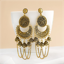 2020 Retro Indian Jhumka Jhumki Gypsy Ethnic Gold Alloy Carved Round&Crescent Bell Tassel Drop Earrings For Women Boho Jewelry