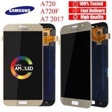 قطع غيار شاشة AMOLED 5.7 بوصة لهاتف سامسونج جلاكسي A7 LCD A720M A720Y A720F A720FD A720 مجموعة محول رقمي لشاشة اللمس