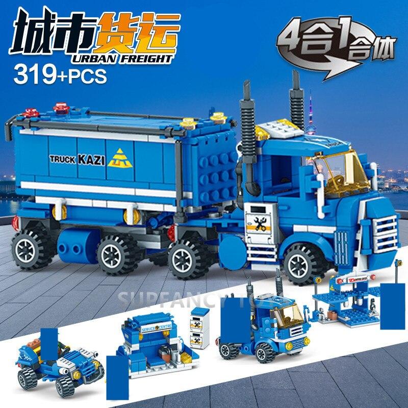 319 pièces 4IN1 ville urbaine fret camion legoinglys blocs de construction ensembles briques Playmobil jouets éducatifs pour enfants legoinglys