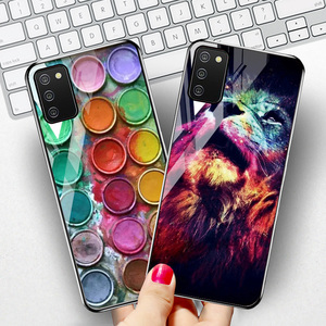 """Image 3 - Tempered Glass Case For Samsung A02s Cases Silicon Painted Capas For Samsung Galaxy A02s A 02s SM A025F 6.5"""" Hard Cartoon Bumper"""