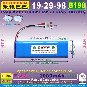 [B198 7,4 V 3000mAh [192998] XHR2.54/5 P NTC; 3; batería de polímero de iones de litio para Harman Kardon Go + jugar altavoz; GSP1029102 01