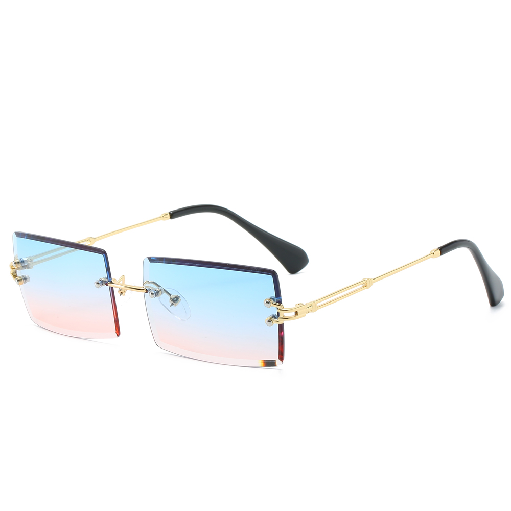 Kachawoo Square Rimless Sunglasses Women Rectangular Blue Green Colored Sun Glasses For Men 2020 Metal New Year Gift Items
