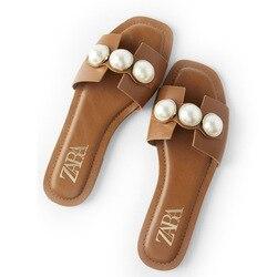Обувь с жемчугом; Женская обувь ZA; Летние шлепанцы; Женские шлепанцы на плоской подошве с украшением из жемчуга; Женские элегантные шлепанцы