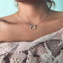 Summer Simple Choker Horn Moon Necklace For Women Pendant On Neck Sexy Charm Gold Silver Chain Horn Chocker Necklace Jewelry trendy bohemia nature stone sun moon star pendant charm jewelry boho colorful beaded chain choker sexy simple necklace for women