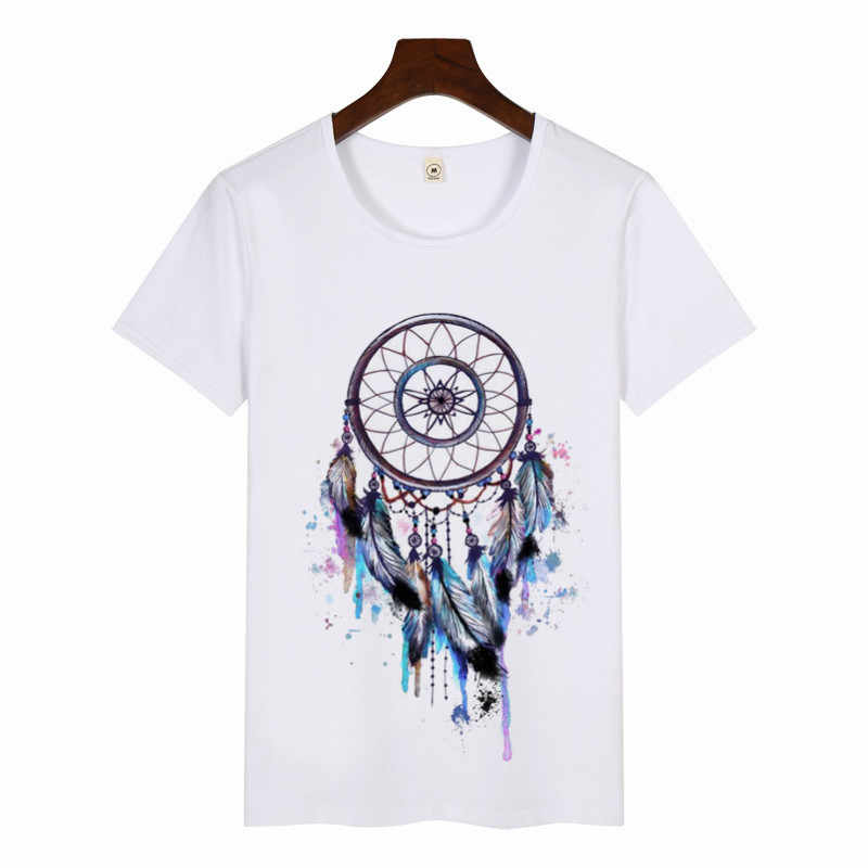 נשים של לוכד חלומות בצבעי מים הדפסת חולצה מזדמן גרפי טי נשי חולצה קיץ Harajuku ropa mujer קצר שרוולים חולצות