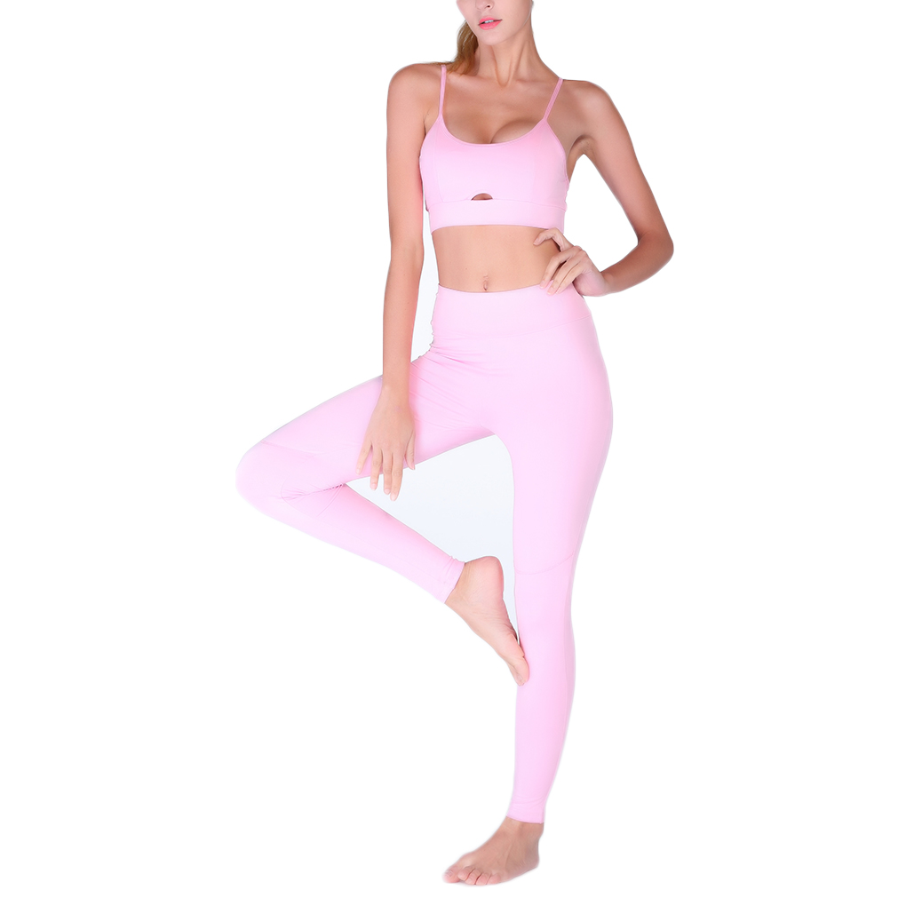 Women Sexy Strap Sports Yoga Pants Leggings Bra Set Running Fitness Sportswear