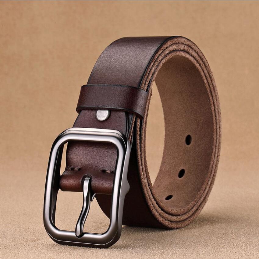 Vintage noir boucle en cuir véritable hommes ceinture pleine fleur couche supérieure peau de vache mâle jean ceintures de luxe Cowboy ceinture XKS177
