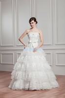 strapless bow organza tiered ball gown 2016 new design hot sale lace appliques crystal custom white wedding dress bride dresses