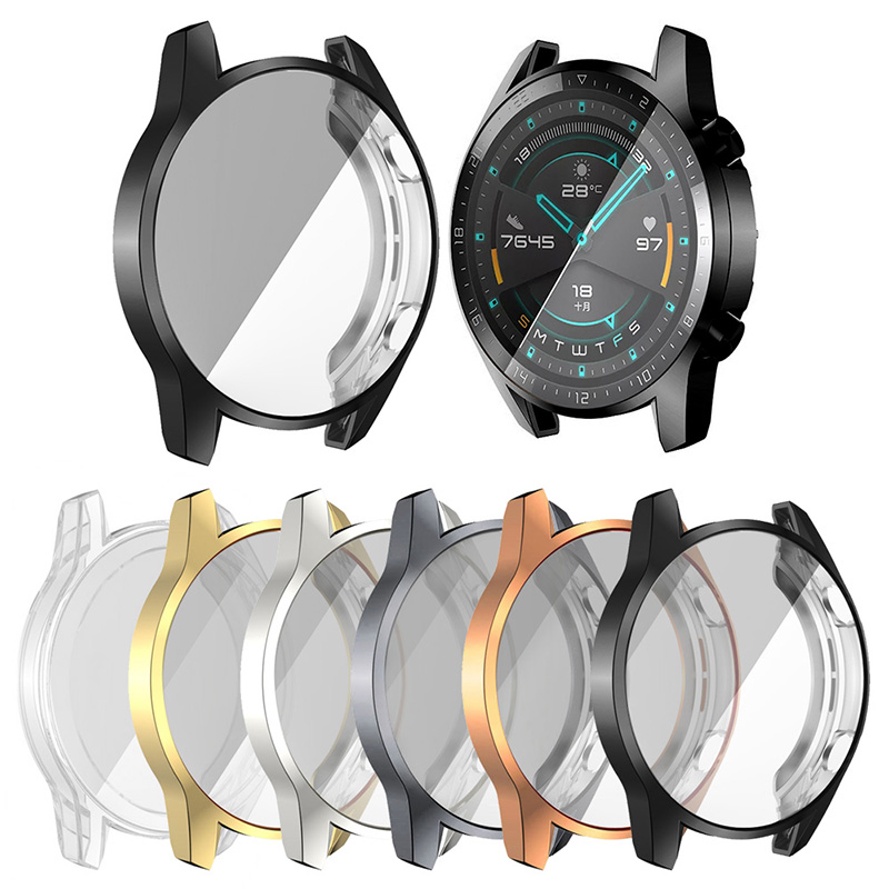 Plating Soft Silicone Case For Huawei Watch GT 2 46mm Screen Protector Cover For Huawei GT2 Band Sports SmartWatch Bumper Funda