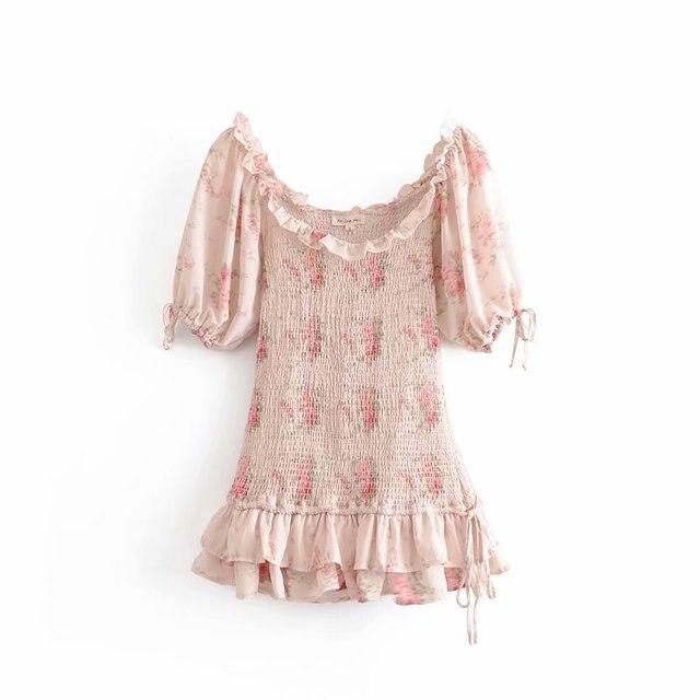 Boho loveshackfancy autumn dress beige short sleeve ruffles slim holiday ins bloggers special interest mini dress women 3