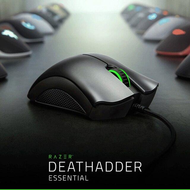 Razer ratón ergonómico para videojuegos DeathAdder Essential, Sensor óptico de 6400 DPI, para ordenador, portátil, PC, Mices