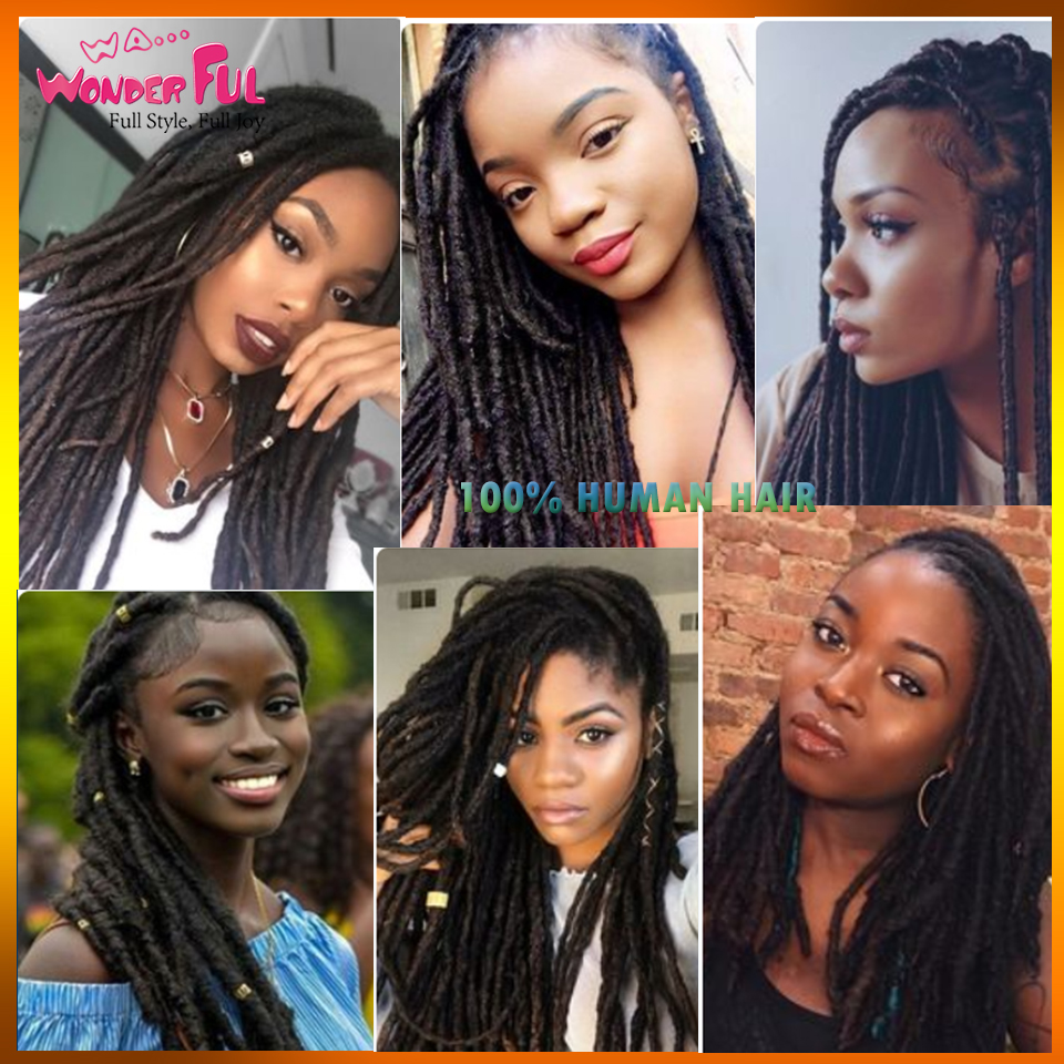 Remy Afro Kinky Curly Dreadlock Pure Handmade Crochet Braiding Dreadlocks Hair Extension Hip Hop Pure Color Human Hair Extension