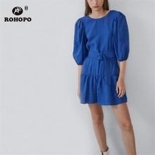 ROHOPO Half Sleeve Round Collar Ruffled Dress Blue Black Solid Chic Ladies Autumn Robe #9065