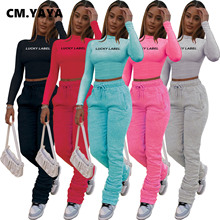 CM.YAYA Activewear Women Set Lucky Label Crop Top Stacked Bellbottom Pants Matching Set Tracksuit Fitness Two 2 Piece Set Outfit