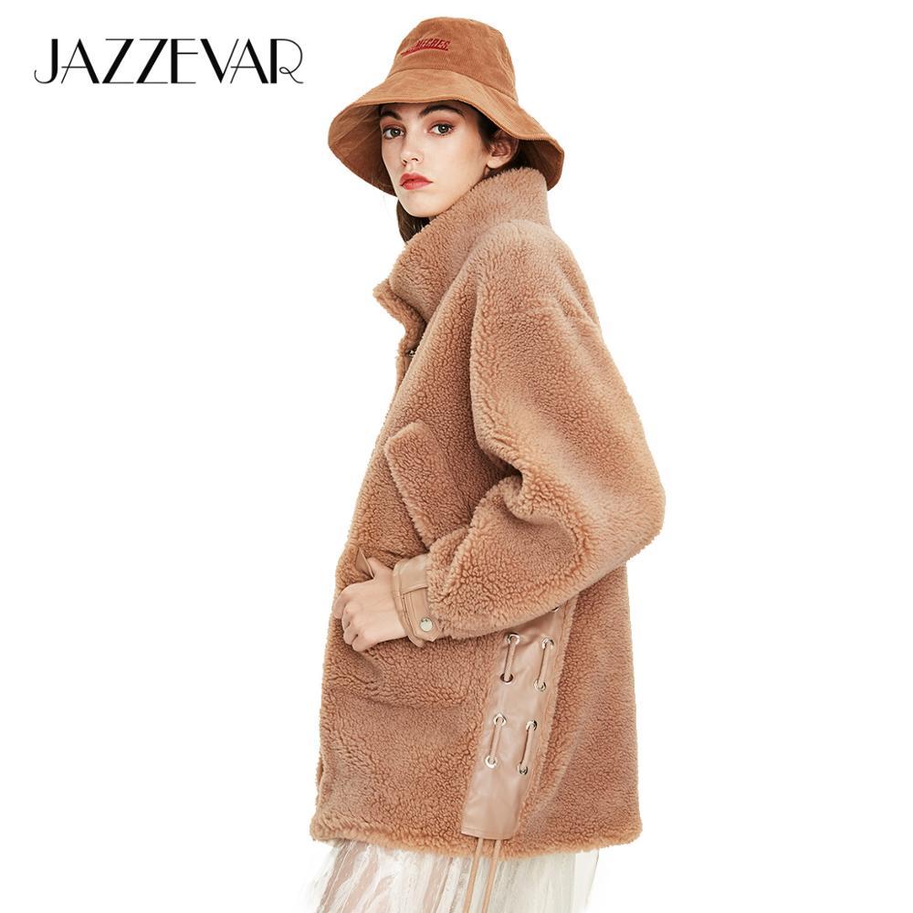 JAZZEVAR 2019 Winter New Arrival Real Fur Coat Women New Fashion Teddy Bear Style Top Khaki Color Warm Winter Coat Woemn K9041