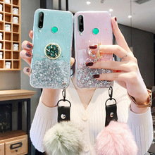 Case for Huawei Honor 9A 9S 9C 8A 8S 8X Cases Glitter Silicon Honor 7A 7C 8 9 Lite 7X 9X Pro Holder+Fur Ball Cover Honor Play 3