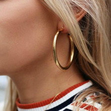 Новые простые винтажные овальные Висячие серьги для женщин золотого цвета геометрические массивные серьги металлические Висячие модные ювелирные изделия