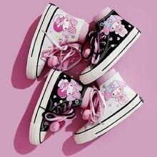 Sapatos de lona de cano alto para mulheres, tênis casual feminino para casal, estampa de grafite, alta tendência, pintado à mão, anime lolita