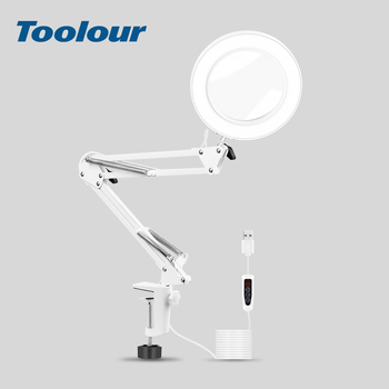 цена на Toolour White LED Illuminated Lamp Magnifying Glass Table Clamp Soldering Third Hand Helping Tool Reading Welding  5X Magnifier