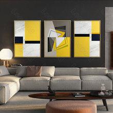 Estilo moderno mural abstrato amarelo e preto cubo sem moldura cartaz casa quarto fresco sala de estar decoração da lona pintura