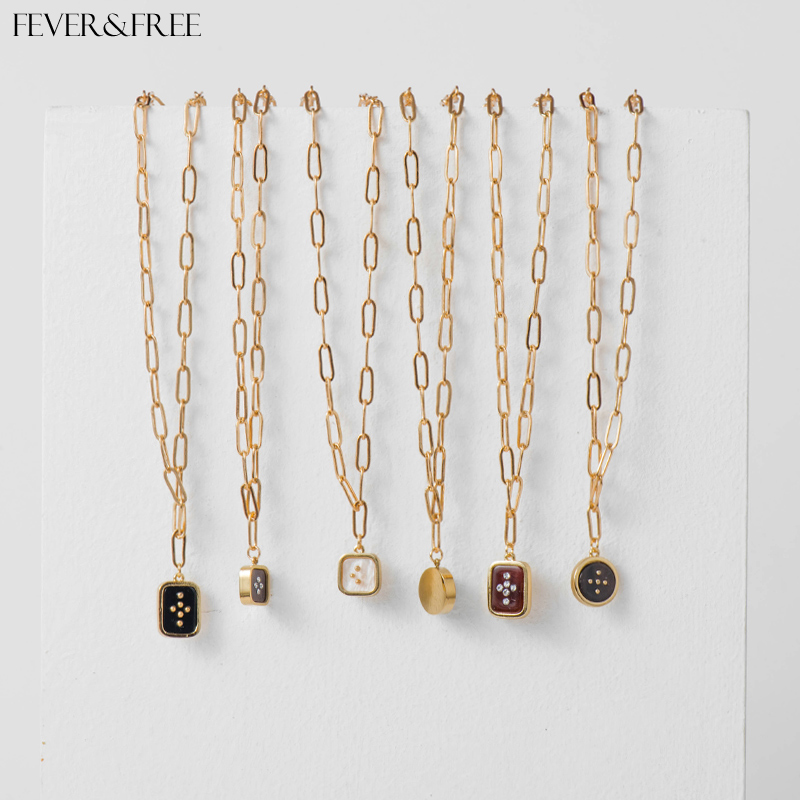 Fever&Free Women Vintage Enamel Geometric Pendant Necklaces Unique Dainty Rune Choker Necklace Jewelry Gift For Your Best Friend image