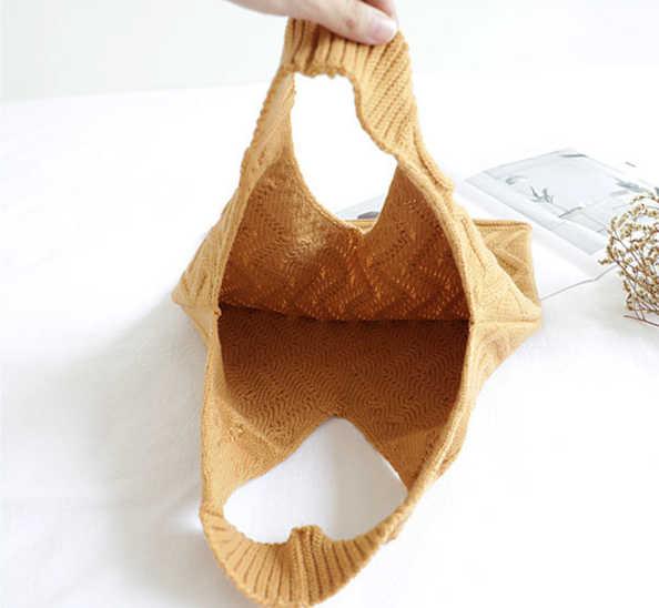 Ukuran Besar Vintage Chic Merajut Tas Tangan Wanita Rompi Top-Handle Bag Wanita Musim Dingin Jepang & Jatuh Trendi Retro harian Dompet