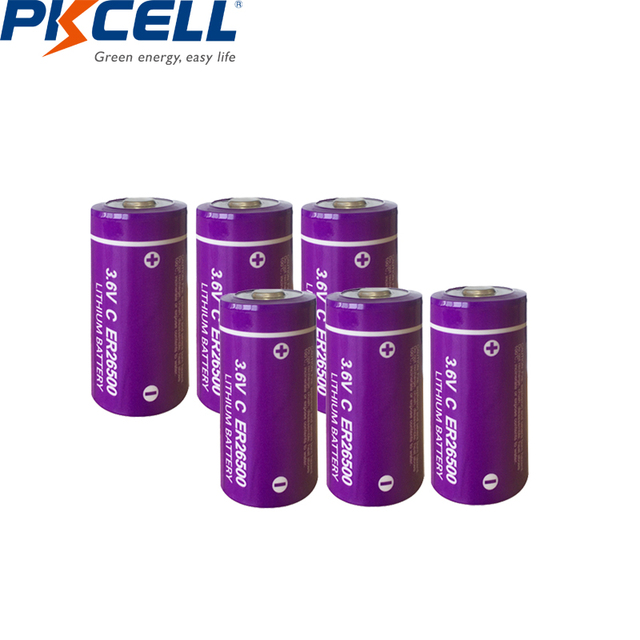 6pcs/lot PKCELL  ER26500  C Size Lithium Battery 3.6 Volt 9000mAh 3.6V Li SOCl2 Unrechargeable Batteries for PLC Medical Devices