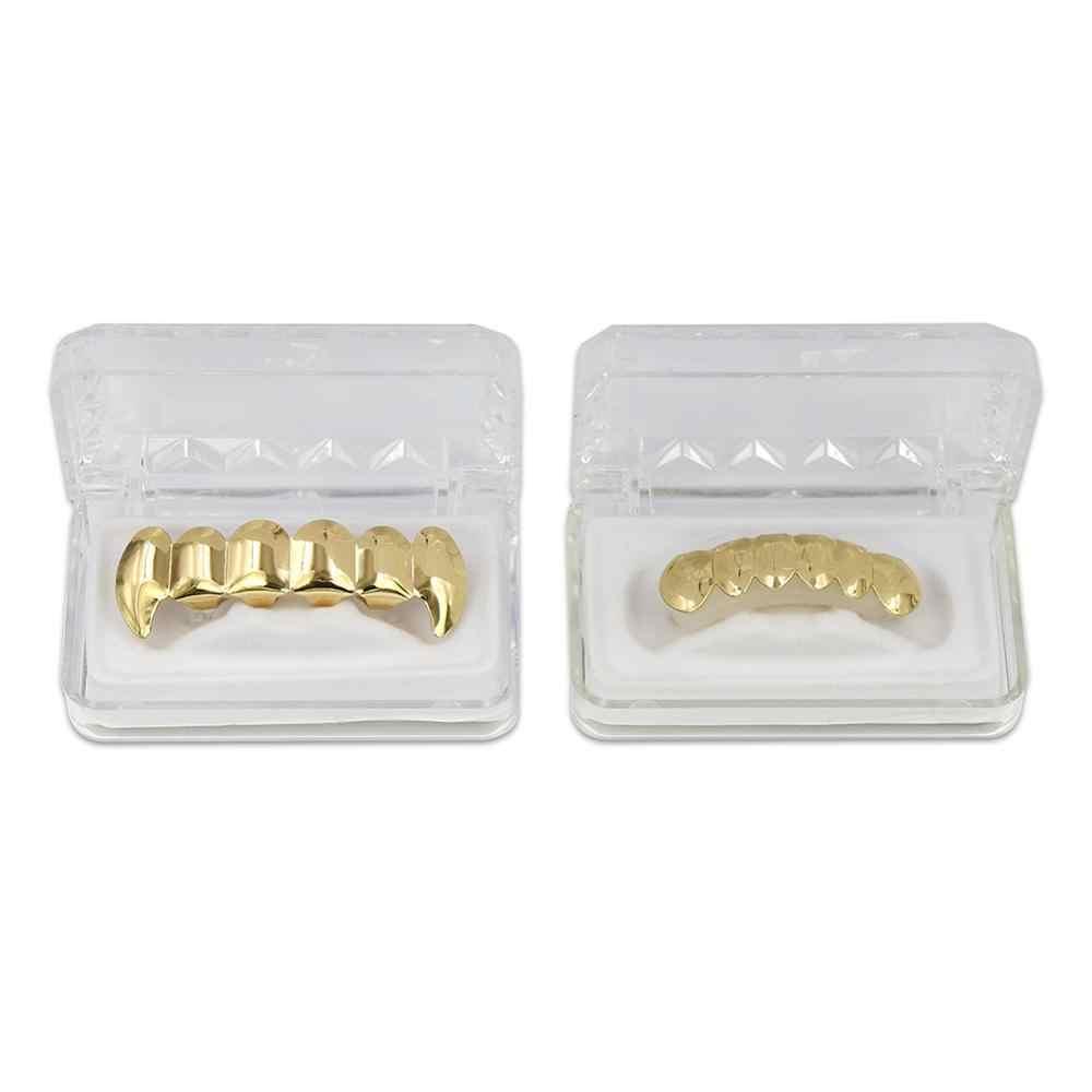 GUCY חדש התאמה אישית זהב כסף מצופה היפ הופ שיניים Grillz למעלה & תחתון ערפד ניבים שיניים גריל כובעי סט עם סיליקון