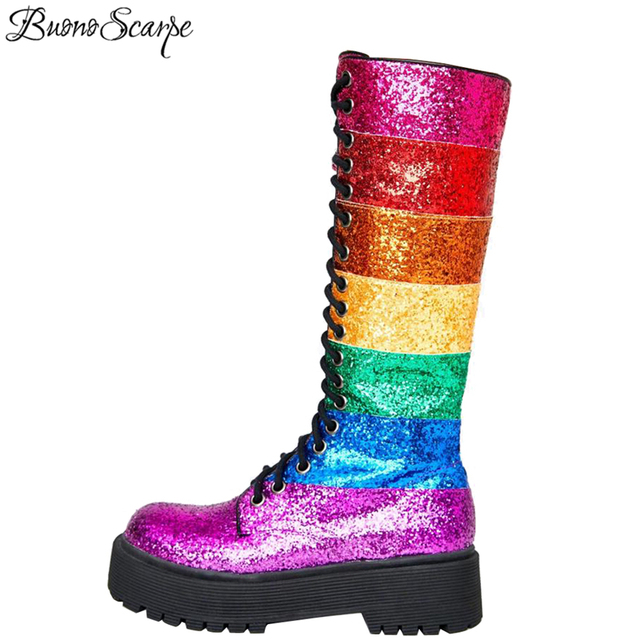 Buono Scarpe Bling Bling Women Mid Calf Boots Women Rainbow Sequined Botas Fenimina Cross Tied Platform Ladies Shoes 2019 New