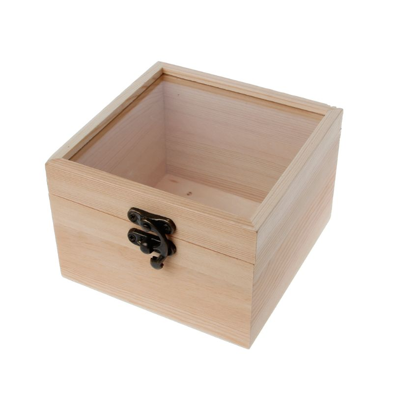 Glass Top Display Box Unfinished Natural Wooden Square Jewelry Storage Package Valentine Party Gift Box For Lover Friends Family