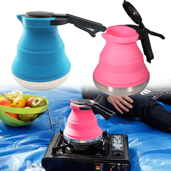 цена на 1.5L High Temperature Resistant Boil kettle Outdoor Camping Portable Foldable Water Coffee Pot Kitchen Silicone Tea Kettle