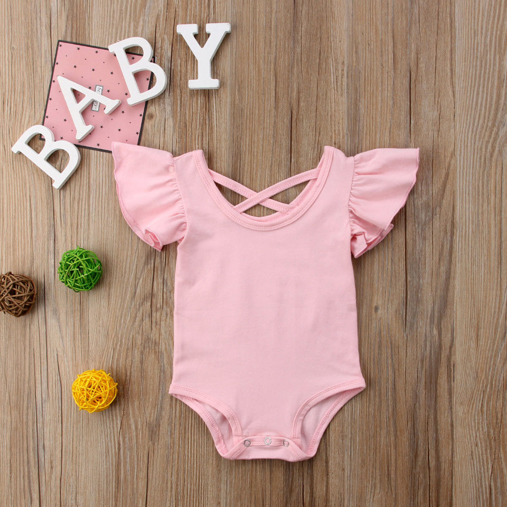 Solid Ruffled Short Sleeve Bodysuit For Baby Girls
