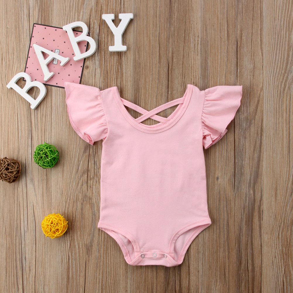 Solid Ruffled Short Sleeve Bodysuit For Baby Girls
