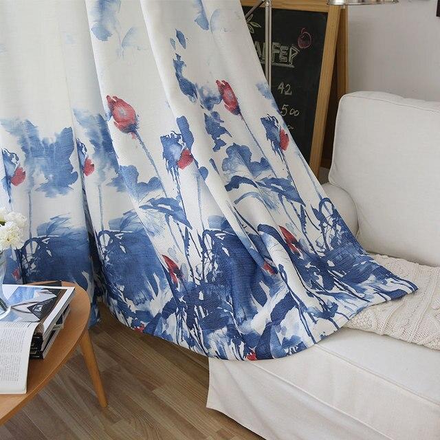 Rideaux pour salon chambre Lotus fleur demi ombrage chinois Feng Shui encre peinture classique frais Polyester/coton