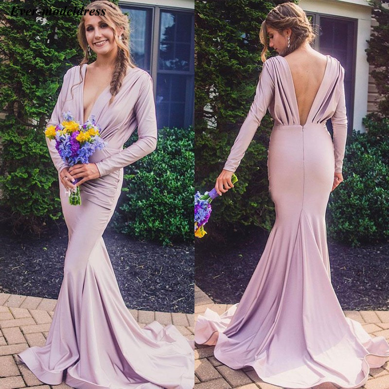 Vestidos Long Sleeves Deep V-Neck Mermaid   Bridesmaid     Dresses   2019 Fitted Country Style Maid Of Honor Gowns Sweep Train Cheap