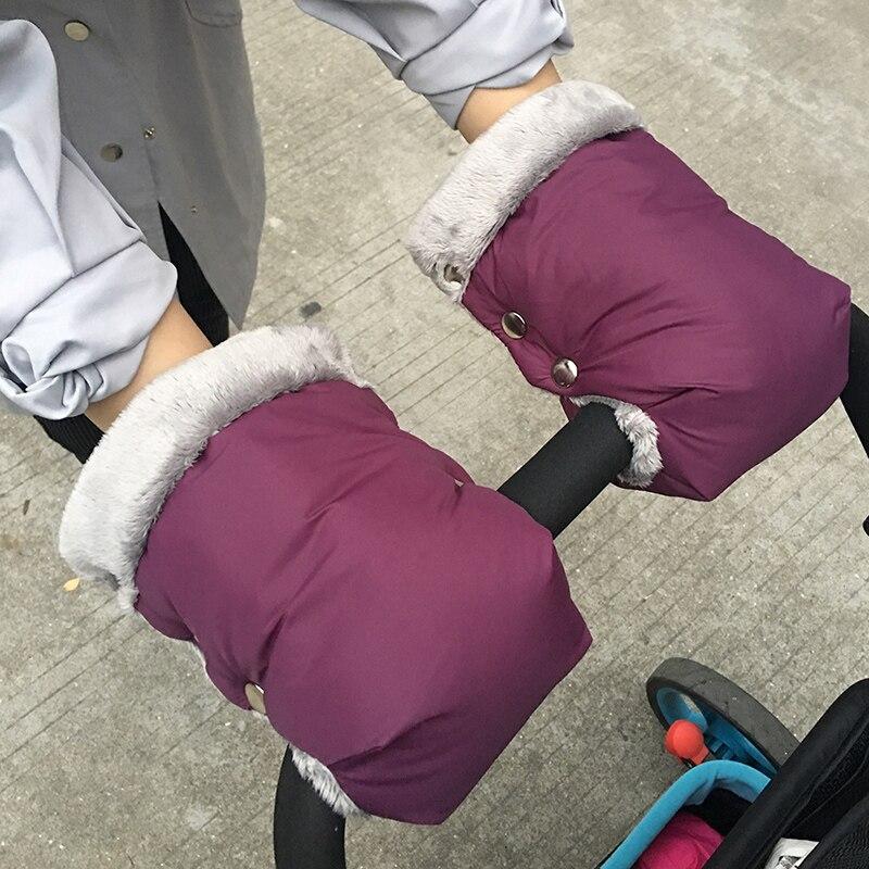 Winter Baby Stroller Gloves Protection Warm Stroller Hand Muff Gloves Baby Pushchair Fur Fleece Hand Cover Stroller Accessories