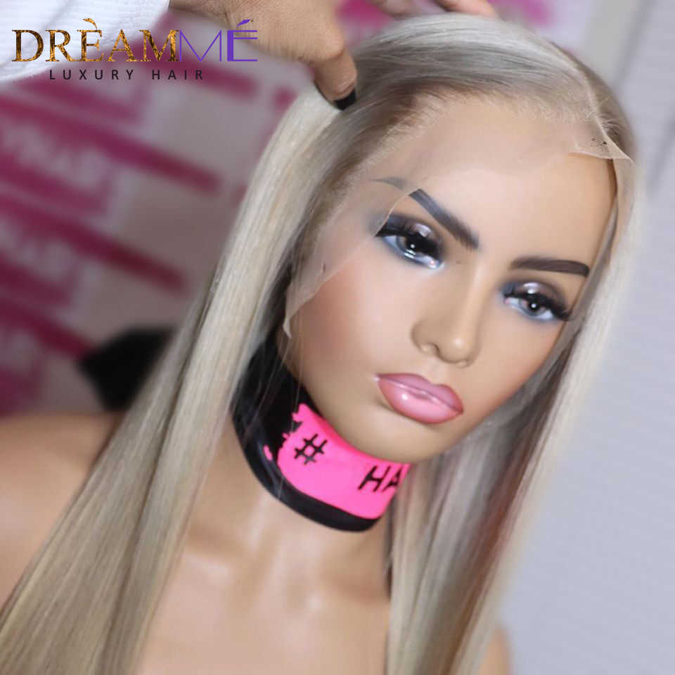 Perruque Lace Frontal Wig naturelle blond platine | Perruque Lace Front Wig Hd, cheveux lisses, Deep Part, 13x6, perruque Lace Frontal Wig, Transparent, densité 150%
