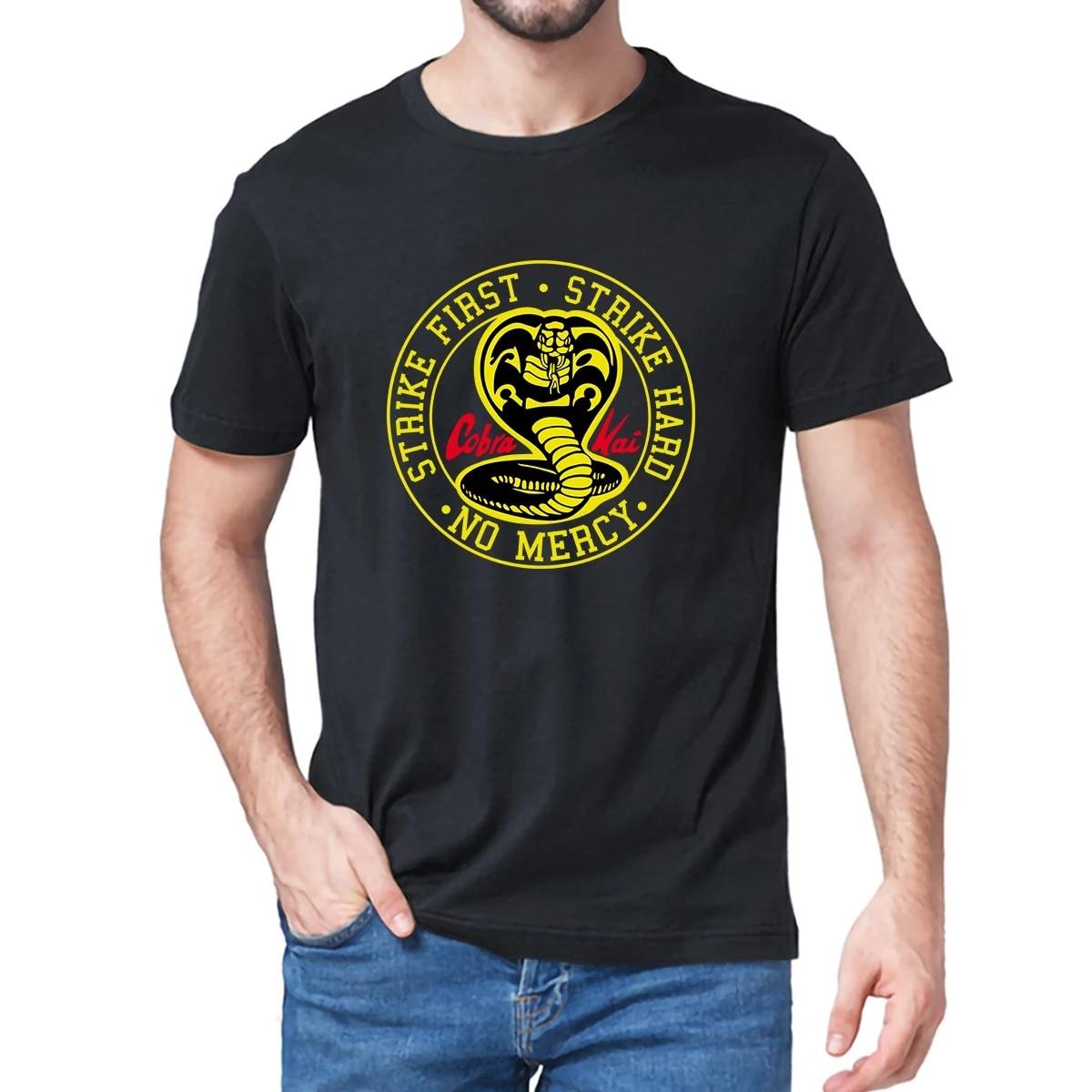 Unisex 100% Cotton Cobra Kai No Mercy Strike First Strike Hard 80s Karate Kid Movie Men's T-Shirt Gift women top soft tee