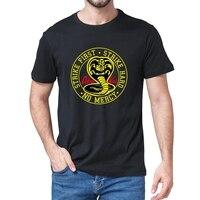 Unisex 100% Katoen Cobra Kai No Mercy Strike First Strike Hard 80S Karate Kid Movie Mannen T-shirt Cadeau vrouwen Top Casual Soft Tee