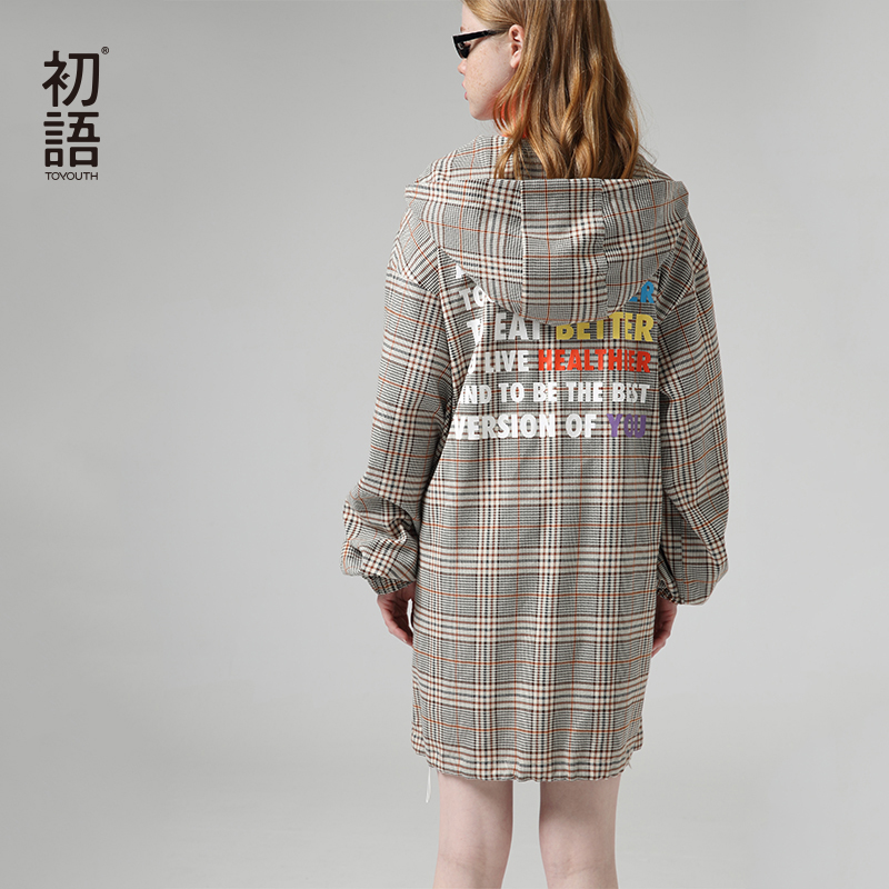 Toyouth Fashion Hooded Plaid Dresses For Women Autumn Patchwork Long Sleeve Dress Back Letter Printed Vestidos