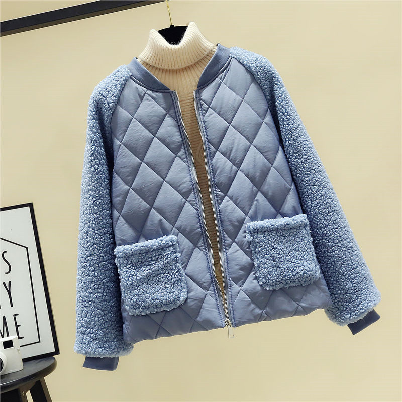 2020 New Spring Winter Thicken Warm Lambs Patchwork Parkas Women Fashion Cashmere Stitching Coat Female Plus Size Plush Jacket