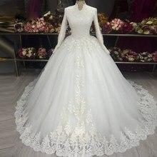 Vestido De Noiva Plus SIze High Neck Lace Applique Ball Gown Wedding Gowns 2021 Long Sleeve Muslim Wedding Dresses for Women