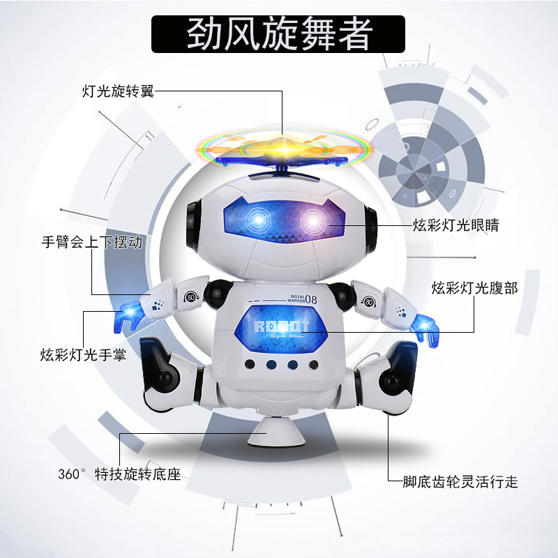 Electric Space Dancing Robot 360-Degree Rotating Light And Sound Stall Toy