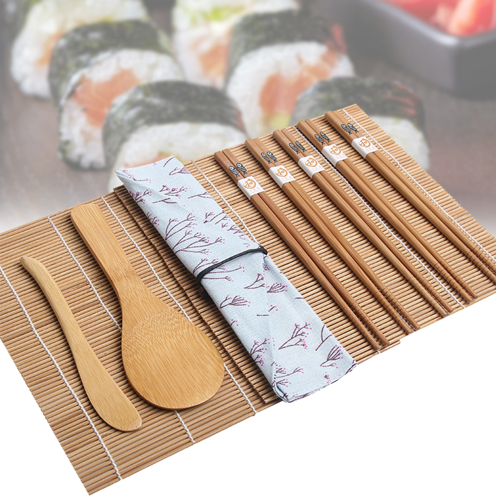 Bamboo Rolling Mats Sushi Maker Set Japanese DIY Tools Rice Spreader 5 Pairs Chopsticks With Cloth Bag Non Toxic Practical image