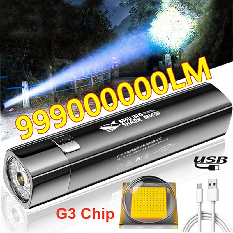 2 IN 1 990000LM Ultra Bright G3 Tactical LED Flashlight Torch Light Outdoor