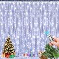 Шторные огни в помещении водопад Фея Usb 3x2 м СИД потолочное освещение в спальню украшения для свадьбы для рождественской вечеринки празднич...
